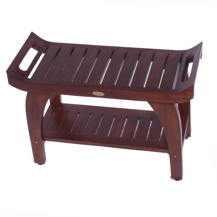 "Decoteak DT156 Tranquility 24"" Teak Eastern Style Shower Bench with Shelf"