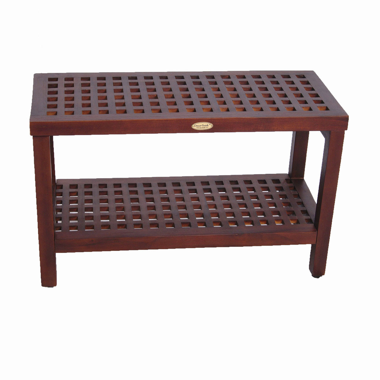 "Decoteak DT158 Espalier 30"" Lattice Teak Shower Bench with Shelf"