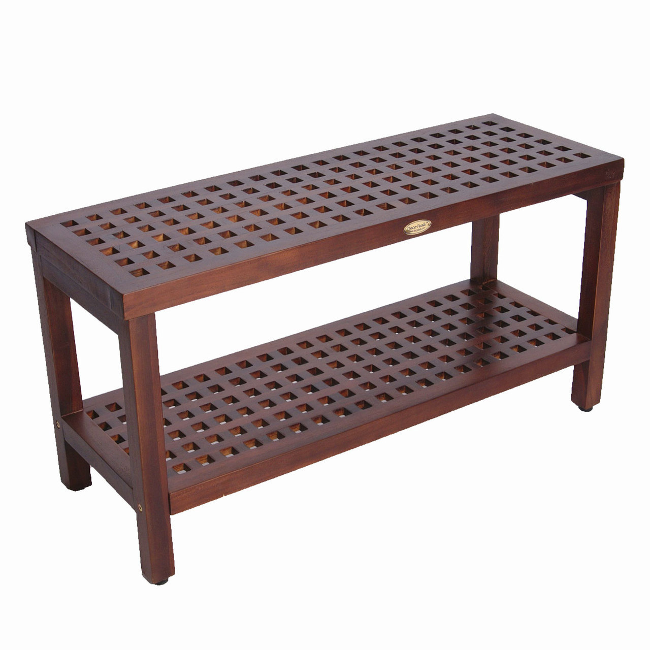 "Decoteak DT159 Espalier 35"" Lattice Teak Shower Bench with Shelf"