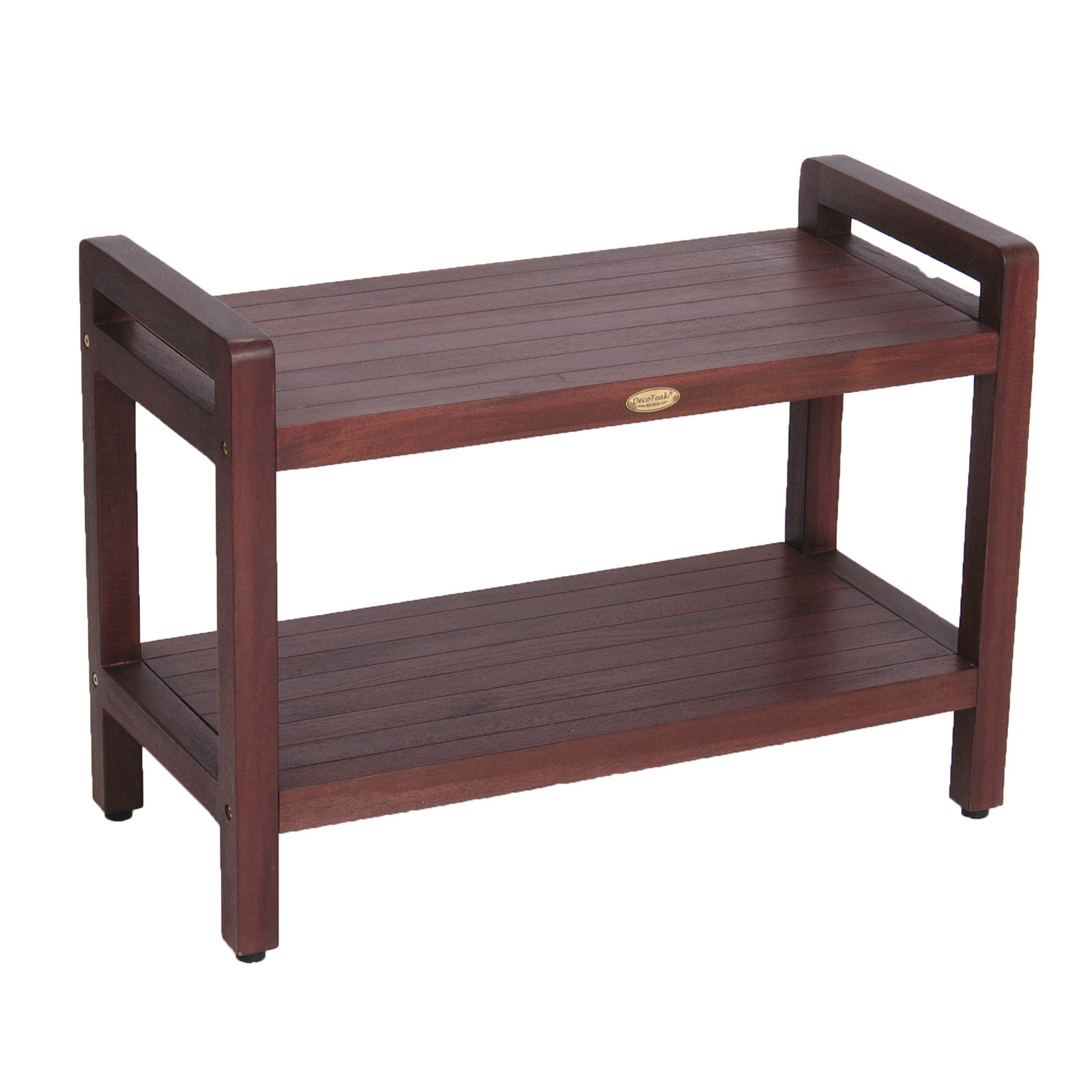 "Decoteak DT174 Classic 29"" Extended Length Ergonomic Teak Shower Stool with Liftaid Arms and Shelf"