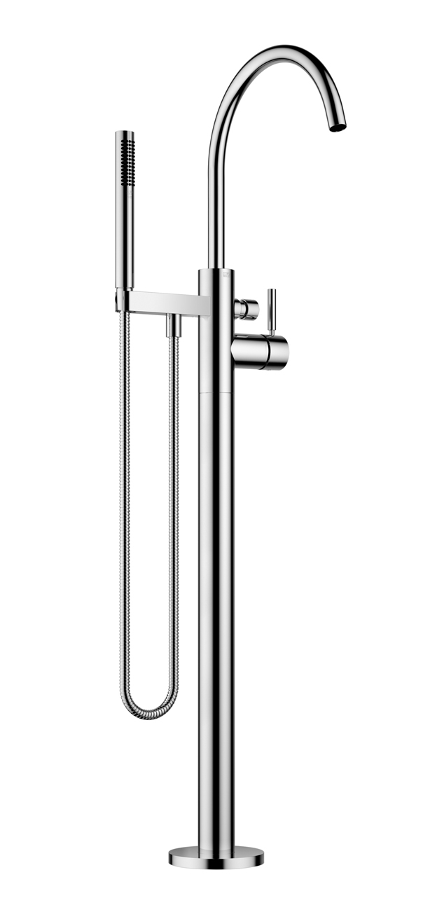 Dornbracht 25863661-00 Meta Single-Lever Tub Mixer on Riser for Freestanding Installation with Hand Shower Set - Polished Chrome