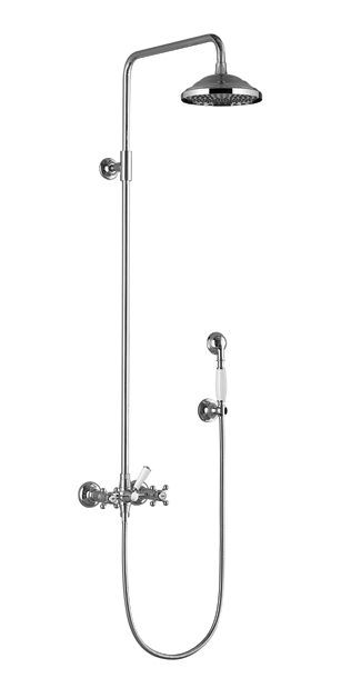 Dornbracht 26601360-000010 Madison Shower Mixer for Wall-Mounted Installation with Rainhead And Hand Shower Set - Polished Chrom