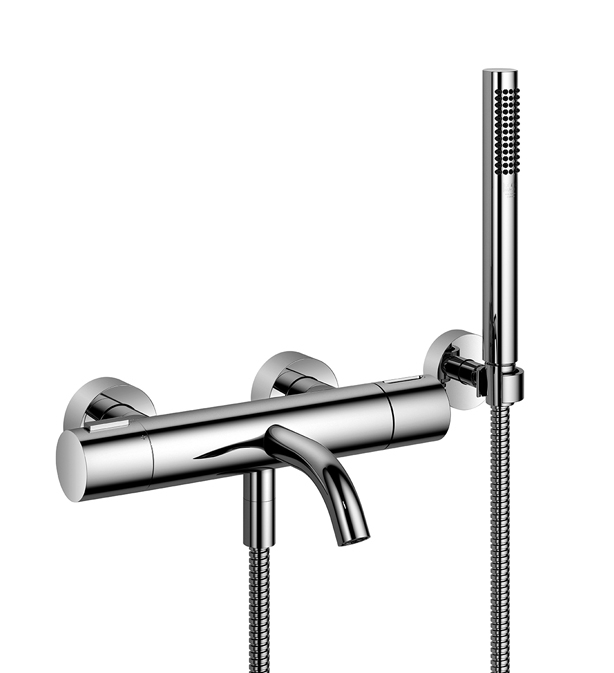 Dornbracht 34234979-00 Round Universal Tub Thermostat for Wall-Mounted Installation with Hand Shower Set - Polished Chrome