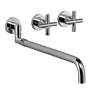 Dornbracht 36819892-00 Tara. Wall-Mounted Three-Hole Kitchen Mixer with Pull-Out Spout - Polished Chrome