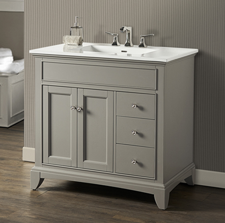 "Fairmont 1504-V36R Smithfield 36"" Vanity Drawer-right - Medium Gray"