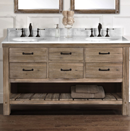"Fairmont 1507-VH6021D Napa 60"" Open Shelf Double Bowl Vanity - Sonoma Sand"