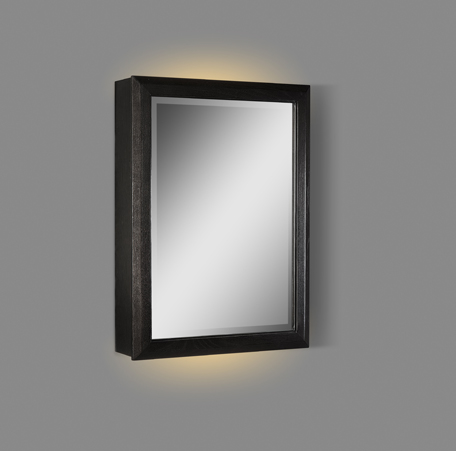 "Fairmont 1511-MC20LED-R Charlottesville with Nickel 20"" LED Medicine Cabinet - right - Vintage Black"