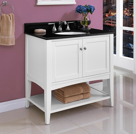 "Fairmont 1512-VH36 Shaker Americana 36"" Open Shelf Vanity - Polar White"