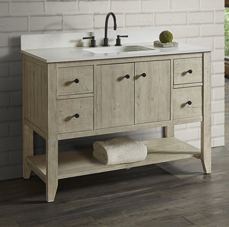 "Fairmont 1515-VH48 River View 48"" Open Shelf Vanity - Toasted Almond - Click Image to Close"