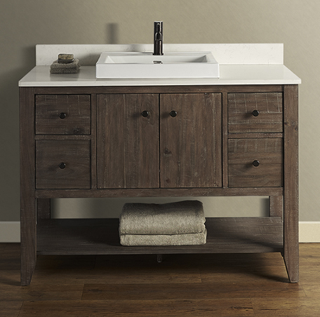 "Fairmont 1516-VH48 River View 48"" Open Shelf Vanity - Coffee Bean"