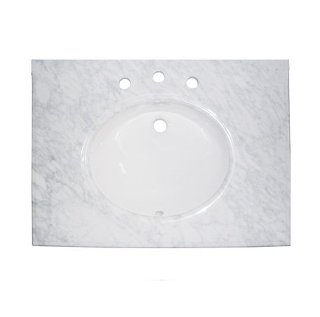 "Fairmont T-3122WC 2cm (3/4"") 31"" White Carrera (WC) Marble Top - 8"" Widespread"