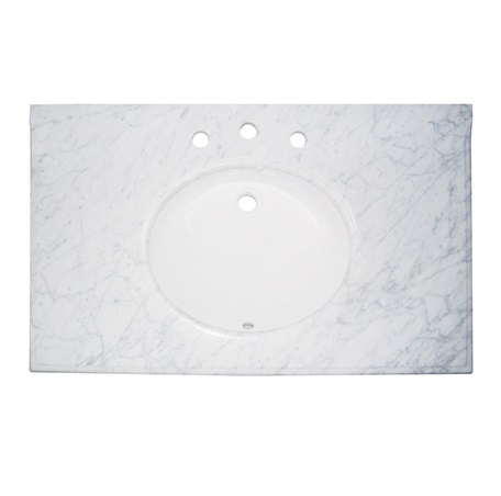 "Fairmont T-3722WC 2cm (3/4"") 37"" White Carrera (WC) Marble Top - 8"" Widespread"