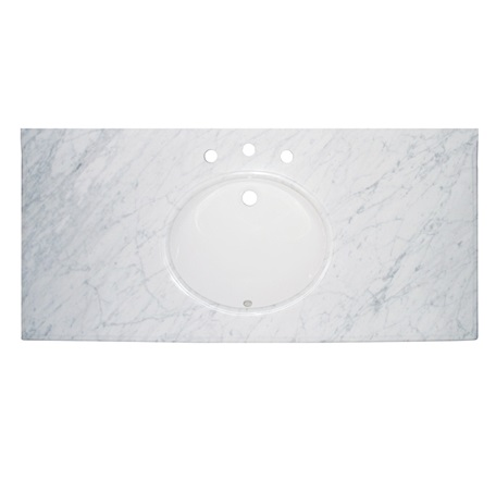 "Fairmont T-4922WC 2cm (3/4"") 49"" White Carrera (WC) Marble Top - 8"" Widespread"
