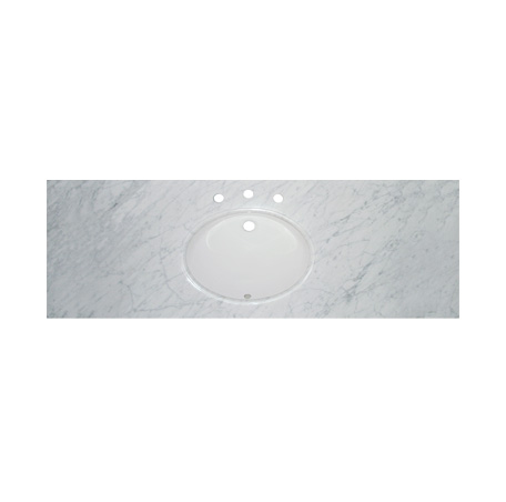 "Fairmont T-6122WC 2cm (3/4"") 61"" Single Bowl White Carrera (WC) Marble Top - 8"" Widespread"
