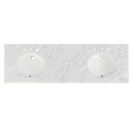 "Fairmont T-7322DWC 2cm (3/4"") 73"" Double Bowl White Carrera (WC) Marble Top - 8"" Widespread"