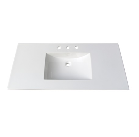 "Fairmont TC-4922W8 (11/16"") 49"" White Ceramic Top - 8"" Widespread"