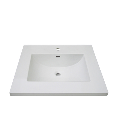 "Fairmont TC3-2522W1 3cm (1-1/4"") 25"" White Ceramic Top - Single Hole"