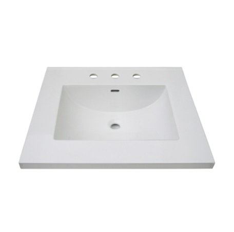 "Fairmont TC3-2522W8 3cm (1-1/4"") 25"" White Ceramic Top - 8"" Widespread"