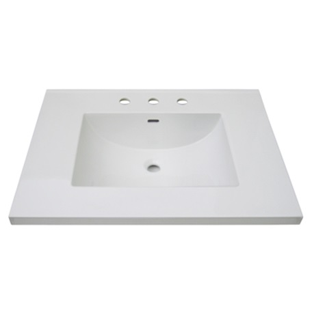 "Fairmont TC3-3122W8 3cm (1-1/4"") 31"" White Ceramic Top - 8"" Widespread"