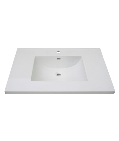 "Fairmont TC3-3722W1 3cm (1-1/4"") 37"" White Ceramic Top - Single Hole"