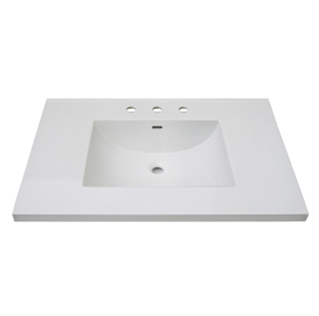 "Fairmont TC3-3722W8 3cm (1-1/4"") 37"" White Ceramic Top - 8"" Widespread"