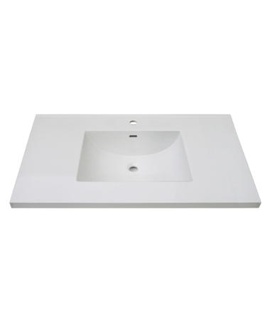 "Fairmont TC3-4322W1 3cm (1-1/4"") 43"" White Ceramic Top - Single Hole"