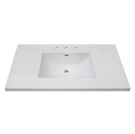 "Fairmont TC3-4322W8 3cm (1-1/4"") 43"" White Ceramic Top - 8"" Widespread"