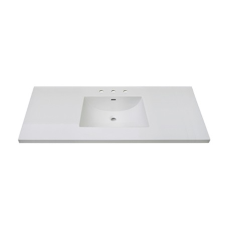 "Fairmont TC3-4922W8 3cm (1-1/4"") 49"" White Ceramic Top - 8"" Widespread"