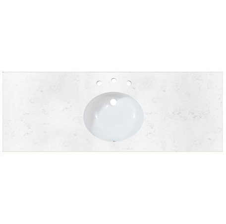 "Fairmont TQ-R6122CQ8 2cm (3/4"") 61"" Single Bowl Carrera (CQ) Quartz Top - 8"" Widespread"