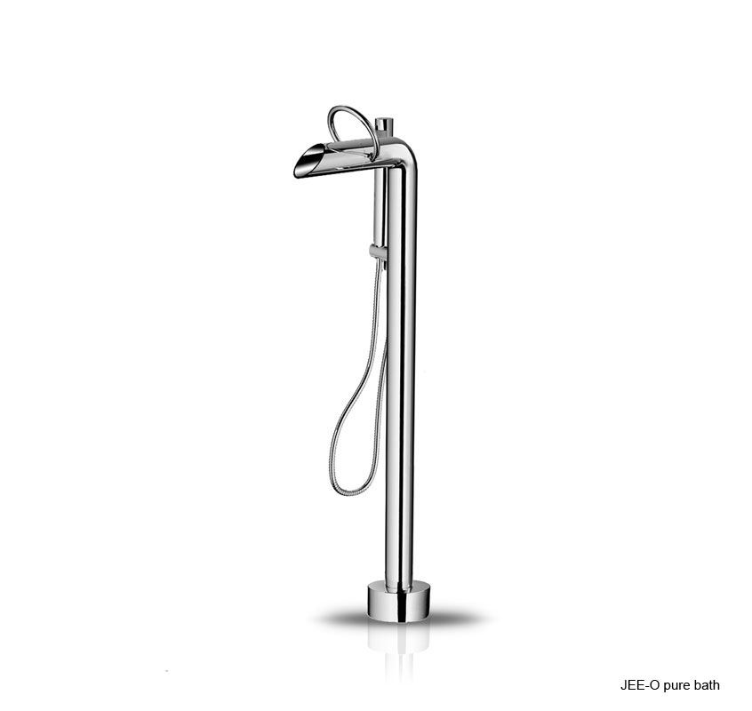 Jee-O 400-2380 Pure Floorstanding Bath Mixer with Pressure Balance Valve and Hand Shower - Polished Stainless Steel