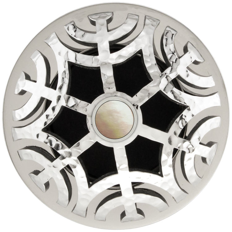 Linkasink D011 PH-SCR02-N Maze Grid Strainer - Polished Hammered FinishMother of Pearl Screw, No Overflow