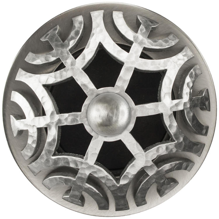Linkasink D011 SH-SCR01-O Maze Grid Strainer - Satin Hammered FinishSphere Screw, With Overflow