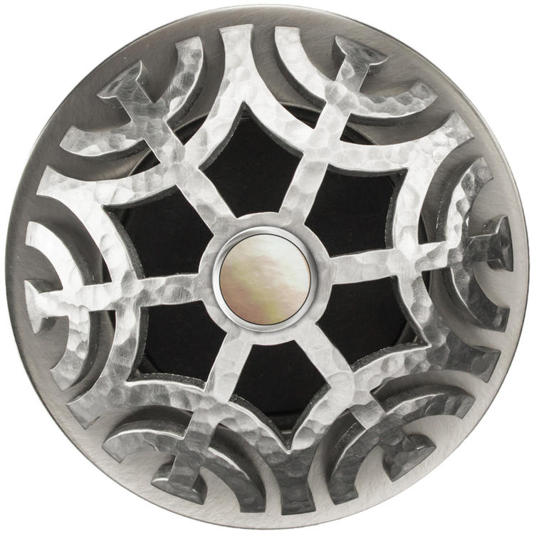 Linkasink D011 SH-SCR02-N Maze Grid Strainer - Satin Hammered FinishMother of Pearl Screw, No Overflow