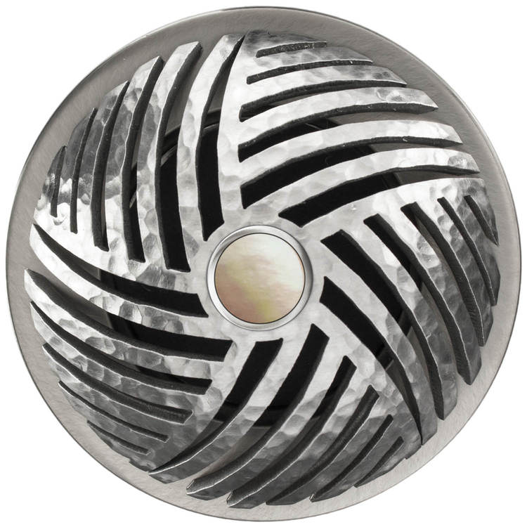 Linkasink D013 SH-SCR02-O Herringbone Grid Strainer - Mother of Pearl Screw, With Overflow