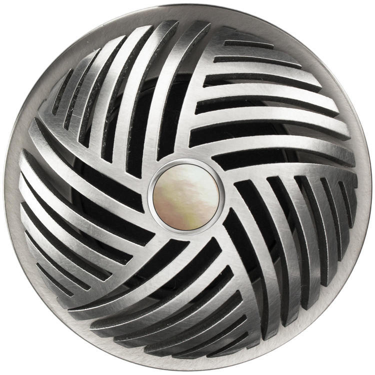 Linkasink D013 SS-SCR02-O Herringbone Grid Strainer - Mother of Pearl Screw, With Overflow