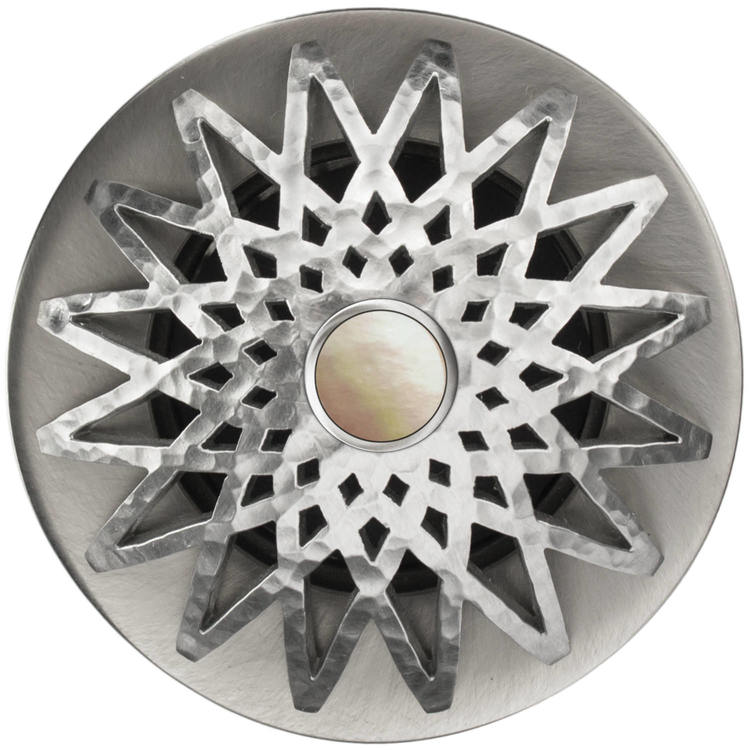 Linkasink D015 SH-SCR02-O Star Grid Strainer - Mother of Pearl Screw, With Overflow