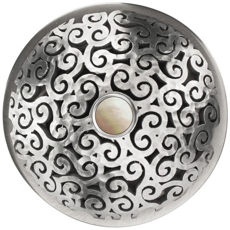 Linkasink D016 SH-SCR02-O Swirl Grid Strainer - Mother of Pearl Screw, With Overflow