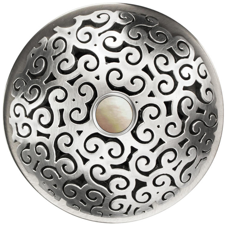 Linkasink D016 SS-SCR02-N Swirl Grid Strainer - Mother of Pearl Screw, No overflow