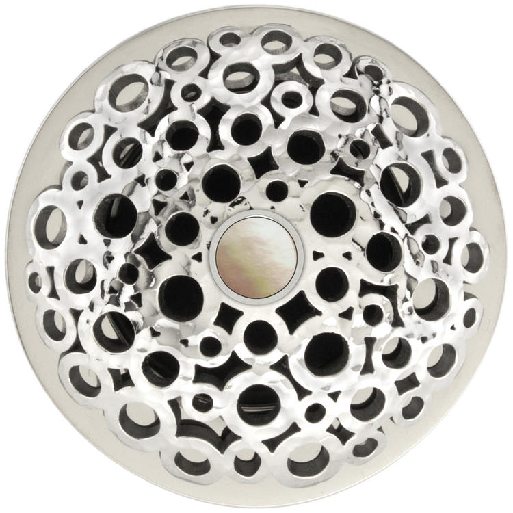 Linkasink D017 PH-SCR02-O Loop Grid Strainer - Mother of Pearl Screw, With Overflow