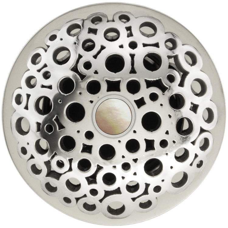 Linkasink D017 PS-SCR02-O Loop Grid Strainer - Mother of Pearl Screw, With Overflow