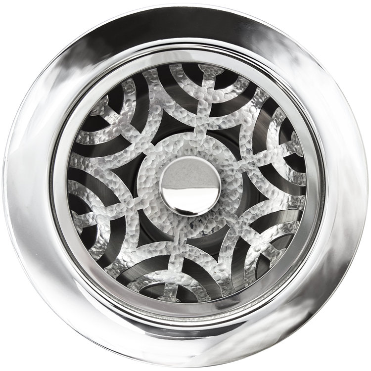Linkasink D071 PH Maze Disposal Flange with Stopper - Polished Hammered Finish