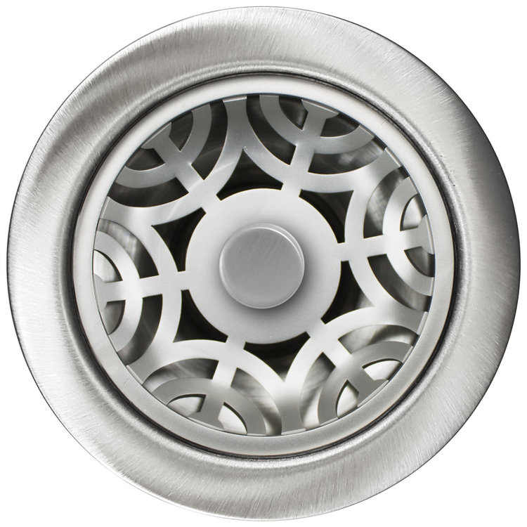 Linkasink D071 SS Maze Disposal Flange with Stopper - Satin Smooth Finish