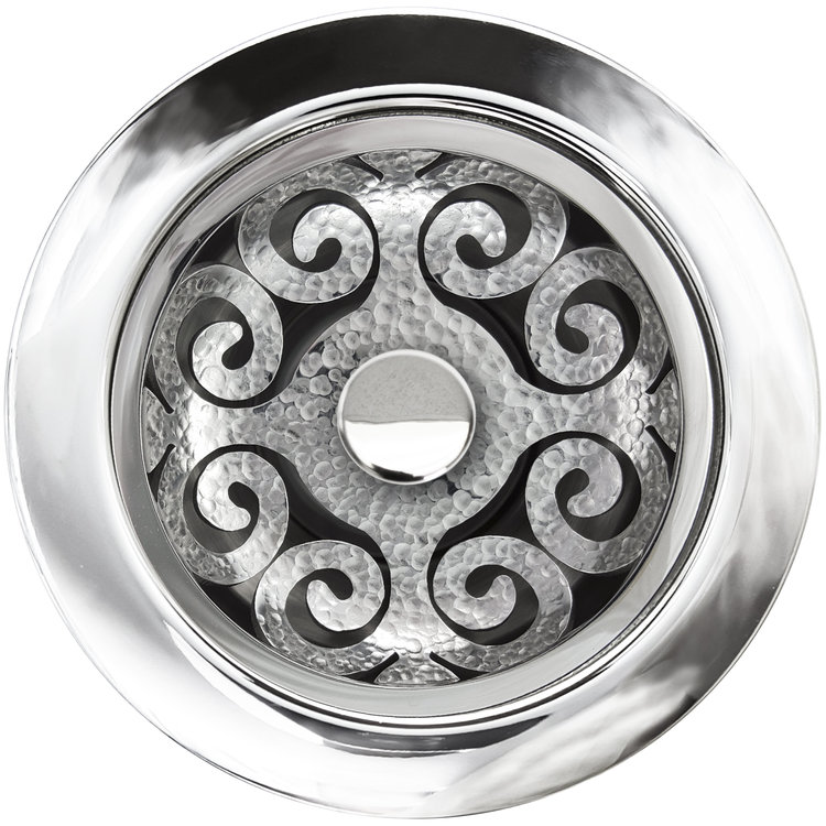 Linkasink D072 PH Hawaiian Quilt Disposal Flange with Stopper - Polished Hammered Finish