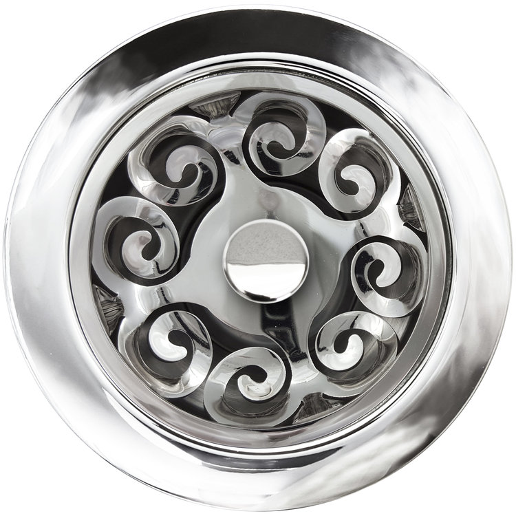 Linkasink D072 PS Hawaiian Quilt Disposal Flange with Stopper - Polished Smooth Finish