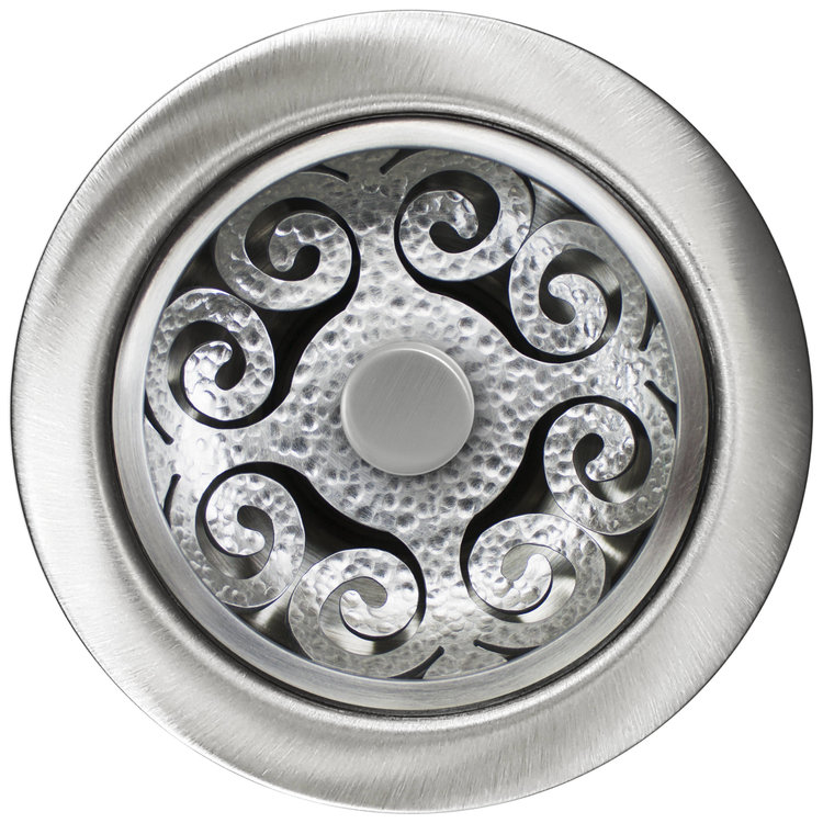 Linkasink D072 SH Hawaiian Quilt Disposal Flange with Stopper - Satin Hammered Finish