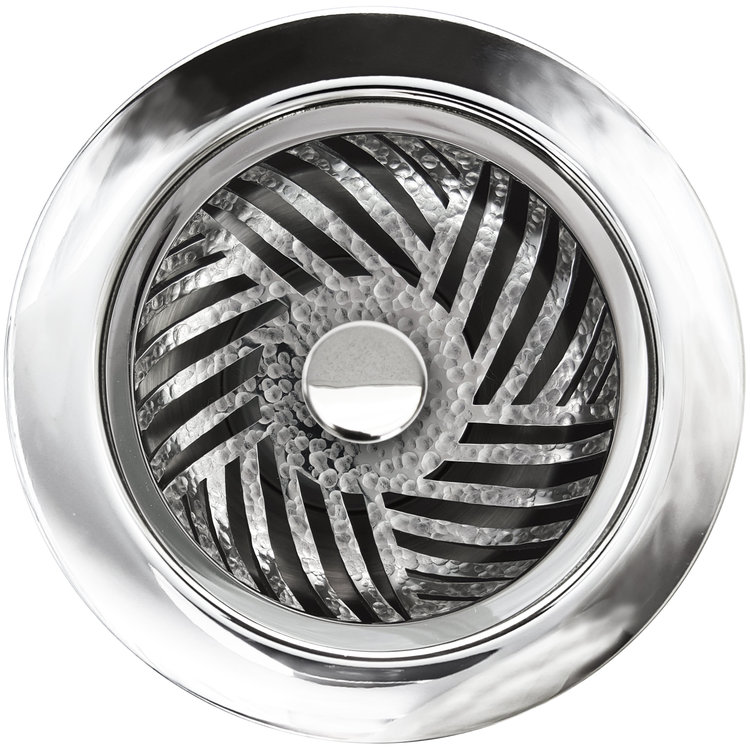 Linkasink D073 PH Herringbone Disposal Flange with Stopper - Polished Hammered Finish