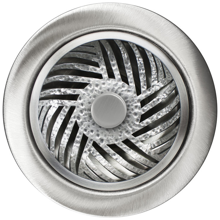 Linkasink D073 SH Herringbone Disposal Flange with Stopper - Satin Hammered Finish