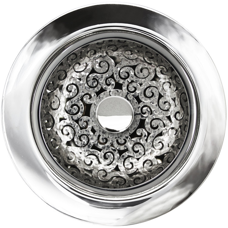 Linkasink D076 PH Swirl Disposal Flange with Stopper - Polished Hammered Finish