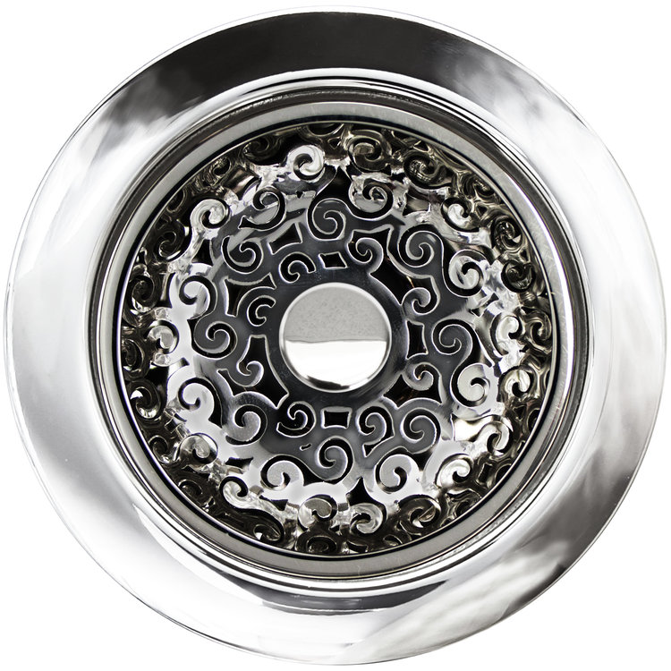 Linkasink D076 PS Swirl Disposal Flange with Stopper - Polished Smooth Finish