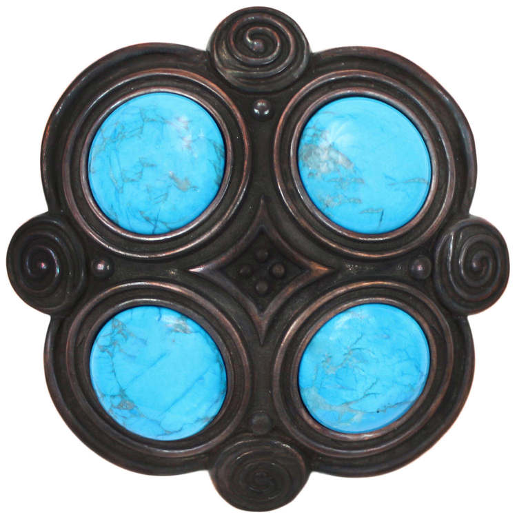 Linkasink D501 DB Quad with Turquoise Drain - Dark Bronze